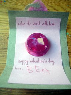 pre-K Valentine's Day cards with crayons