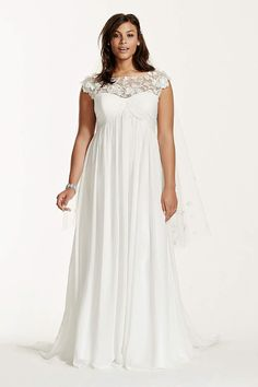 Looking for a casual wedding dress for your destination wedding? Shop our collection of affordable casual wedding dresses by Davids Bridal! Plus Size Brides, Plus Size Wedding Gowns, Country Wedding Dresses, Casual Wedding, Designer Wedding Dresses, Wedding Simple, Plus Size Maxi Dresses, Plus Size Outfits, Dresses With Sleeves