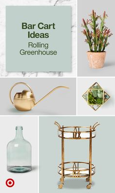 Discover unique bar cart styling ideas, from bathroom & beauty essentials to go, to a rolling greenhouse. House Plants Decor, Plant Decor, Dream Home Design, House Design, Plants In Jars, Living Room Decor, Bedroom Decor, Bar Cart Styling, The Home Edit