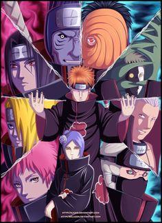 The Akatsuki: Sasori, Deidara, Itachi, Kisame, Pain (Nagato), Hidan, Tobi (who also masqueraded as Madara Uchiha), Zetsu, Kakuzu and Konan.