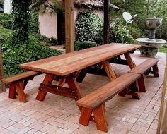 "Heritage Picnic Table (Options: 12' L, 36"" W, Side Benches, Unattached Benches, 2 Half Length Side Benches/Side, Forever Style Benches, Standard Tabletop, Slightly Rounded Corners, Standard Leg Flair, No Umbrella Hole, Transparent Premium Sealant)."