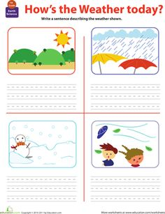 First Grade Earth & Space Science Writing Sentences Worksheets: Write About the Weather Worksheet