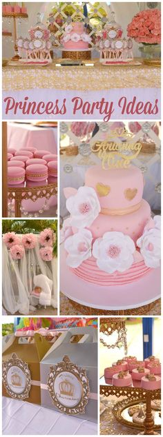 How lovely is this pink and gold princess party?! See more party ideas at CatchMyParty.com!