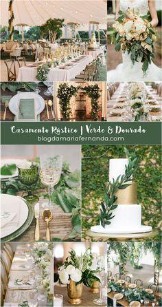 Decoração de Casamento Rústico Verde e Dourado | Blog de Casamento DIY da Maria Fernanda
