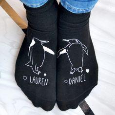Personalised penguins in love socks   hardtofind.