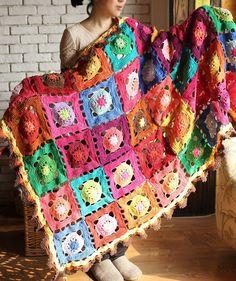 Handmade crochet blanket Cotton flower leisure by peacockland, $230.00