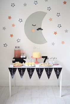 "Dessert Table from a ""Take Me To The Moon"" Girly Space Birthday Party"