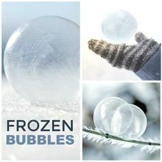 Making Frozen Bubbles This is so easy and fun winter activity to do. It's the winter equivalent of blowing bubbles, and it may require a little practice. Find out how to make Frozen Bubbles at Growing a Jeweled Rose here. Rock Candy Experiment, Candy Experiments, Science Experiments For Preschoolers, Cool Science Experiments, Science For Kids, Preschool Science, Montessori Science, Primary Science, Summer Science