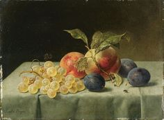 Emilie Preyer, FRUIT STILL LIFE WITH PEACHES, PLUMS, AND GRAPES, Auction 947 Old Masters, Lot 1362