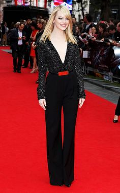 Emma Stone in a black embellished Elie Saab jumpsuit