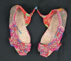 sweet vintage childs slippers from Laos, approx 40 years old. some wear. lovely decorative item http://worldbasket.co.uk/product-category/antique-and-vintage-textiles/