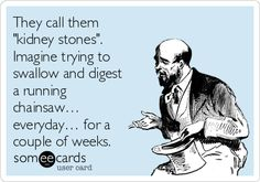 That sounds right! Even worse when you can't get off the floor and can't find help to get to er. Kidney Stones Funny, Kidney Stone Humor, Crohns Awareness, Stone Quotes, Kidney Health, Lol, Pet Peeves, Nurse Humor, Funny Cards