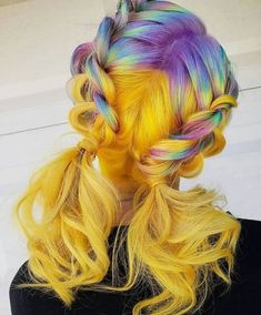 coolest hairs color trends in trendy hairstyles … ombre yellow hair colors; coolest hairs color trends in trendy hairstyles and colors women hair colors; Yellow Hair Color, Hair Dye Colors, Ombre Hair Color, Purple Hair, Grey Hair, Vivid Hair Color, Beautiful Hair Color, Cool Hair Color, Aesthetic Hair