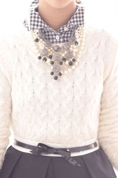 White cable cashmere sweater, blue gingham button-up, navy bow belt, navy skirt,