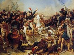 "The French Campaign in Egypt and Syria (1798–1801) was Napoleon Bonaparte's campaign in the Orient, proclaimed to defend French ""trade"" interests, undermine Britain's access to India, and to establish ""scientific"" enterprise in the region. It was the primary purpose of the Mediterranean siege of 1798, a series of naval engagements that included the capture of Malta. Artist - Baron Antoine-Jean Gros-Battle Pyramids 1810."