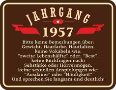 Amazon.de: Original RAHMENLOS® Blechschild zum 60. Geburtstag: Jahrgang 1957