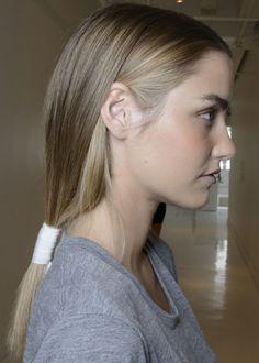 Dark ash blonde with light blonde highlights