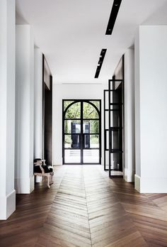 Herringbone Flooring + Hardwood Floors + Black and White Design #hardwood #flooring #herringbone