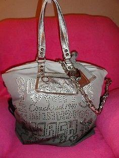 My dream purse in gray!!!!! COACH POPPY 15312 GRAY BLING! RHINESTONE STORYPATCH XL HANDBAG PURSE TOTE XLARGE Coach Handbags, Coach Purses, Coach Bags, Purses And Bags, Backpack Purse, Tote Bag, Coach Poppy, Girls Best Friend, Addiction
