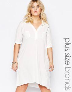 2313126999 Pink Clove Shirt Dress With Mock Pocket Detail at asos.com