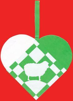 Flettet julehjerte med får