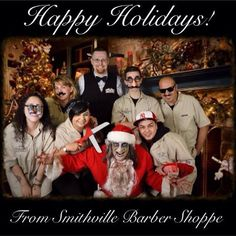 What a great picture of the staff at Smithville Barber Shoppe and Underground's own Zombie Santa! #barbershoppe #holidays #christmas #zombie #santa #smithvillenj #historicsmithville