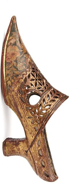 Pair of gilded and painted carved wood lady's traditional wedding shoes - France - 18-th century
