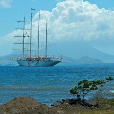 Tall ship at anchor off Basseterre.
