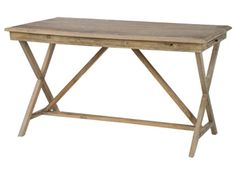 """Palma Desk 53.5""""W x 30""""D x 29.5""""H Reclaimed and recoiled whitewashed elm Has extension shelves on both ends"""