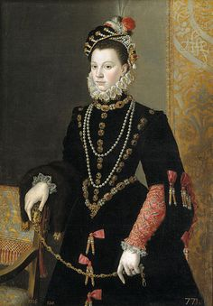 ELISABETH DE VALOIS queen of Spain 3rd wife of Philip II. MUSEUM DATA: Pantoja de la Cruz, Juan, 1605 posthumous portrait, Prado. Some consider this work to be a copy of an original by the painter Sofonisba Anguisola, a protégée of the Queen. she holds a ZIBELLINO. Note AGLETS on dress in style of 1560s.