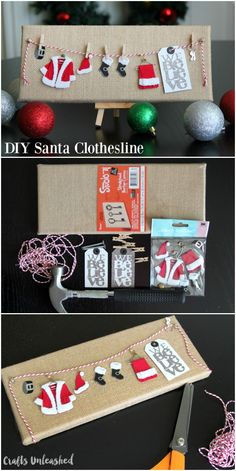 Christmas DIY: If you're looking fo If you're looking for a cute and easy DIY Christmas decoration that can be made in 10 minutes look no further! This adorable Santa clothesline is perfect! Noel Christmas, Christmas Wrapping, Winter Christmas, Christmas Ornaments, Christmas Ideas, Christmas Canvas, Christmas Music, Diy Christmas Projects, Christmas Movies