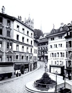 Place de la Palud Lausanne, Switzerland, Street View, Sweet, Vintage, Digital History, Old Town, Antique Pictures, Black N White