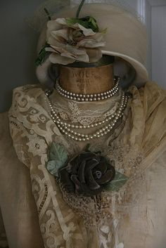 beautiful pieces of lace, and pearls and a beautiful vintage hat... this could be 1890's... love it.... walking on sunshine:-)