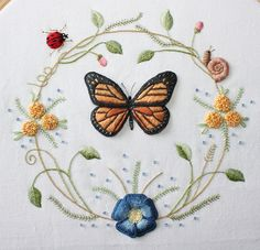 Butterfly Wreath Embroidery by flossbox, via Flickr