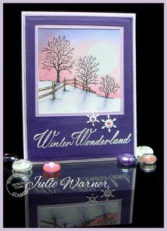 Winter+Wonderland+scenic+card,+sponged+&+colored+w/+Copics+-+Julie+Warner+for+Serendipity+Stamps