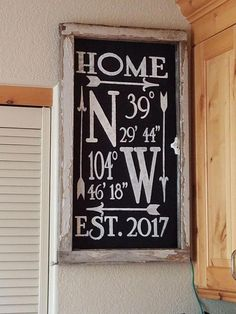 DONE-Location coordinates farmhouse sign, cricut freezer paper, fabric paint. Old window frame. Home Decor Signs, Diy Signs, Kitchen Decor Signs, Home Decor Quotes, Diy Kitchen, Farmhouse Signs, Farmhouse Decor, Farmhouse Fabric, Farmhouse Ideas