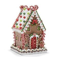 Whimsical Polymer Clay Gingerbread House That Lights Up Christmas Holiday Decor