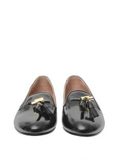 CHLOÉ Dafne high-shine leather tassel loafers