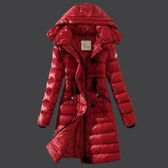 2013 New! France Moncler Winter Down Coat Women Hooded Slim Red Outlet