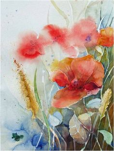 Before the last harvest (c) a watercolor of poppies FRank Koebsch, 30 x 40 cm… Watercolor Poppies, Watercolor Drawing, Watercolor Cards, Painting & Drawing, Art Floral, Painting Lessons, Oeuvre D'art, Lovers Art, Art Photography