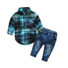 Cute Infant Baby Boy Clothes Blue Plaid jumpsuit+ Jeans Baby Long Sleeve Baby boy Clothing Set - Kid Shop Global - Kids & Baby Shop Online - baby & kids clothing, toys for baby & kid - Boys Baby Boy Clothes Hipster, Baby Boy Clothing Sets, Newborn Boy Clothes, Baby Boy Newborn, Infant Clothing, Kids Clothing, Babies Clothes, Children Clothes, Clothing Stores
