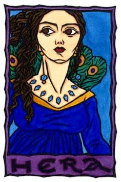 """Hera is the Greek Goddess of the Sky and Queen of the Gods, and one of the twelve Olympians. Her name is said to derive from a root meaning """"sky"""". She was originally a powerful goddess in Her own right, and was only joined with Zeus when invaders brought His worship into Greece."""