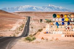 Road leading to the Atlas mountains of Morocco.A long road to Marrakech Fez Morocco, Marrakech, Tangier, Desert Tour, Desert Days, Honeymoon Tour Packages, Beautiful Places In The World, Amazing Places, Le Far West