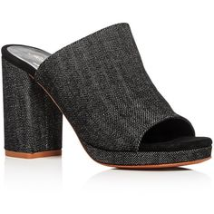 Robert Clergerie Abricet Denim High Heel Slide Sandals ($520) ❤ liked on Polyvore featuring shoes, sandals, black, kohl shoes, robert clergerie shoes, black denim shoes, black sandals and robert clergerie