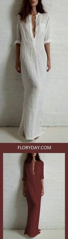 Going on the beach today? Wearing this Cotton Solid 3/4 Sleeves Maxi Casual Dresses will show off that oozing oh-so sexy silhouette.