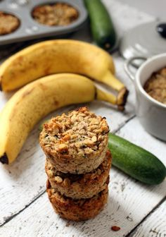 These lightly sweetened, gluten-free, whole-grain banana zucchini oatmeal cups make the perfect afternoon snack or breakfast on-the-go.