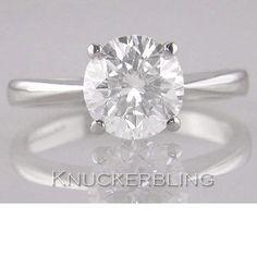 D se Certified 1.50ct taglio a Brillante Anello Di Diamanti Solitario Fidanzamento Platino