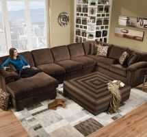Champion Brown Fabric 4 Peice Oversized Chaise Sectional