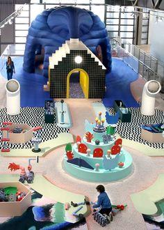 To celebrate the Centre Pompidou's anniversary, Paris-based studio GGSV have designed an interactive installation for children. Stand Design, Display Design, Booth Design, Centre Pompidou, Public Space Design, Art Deco Wallpaper, Journal Du Design, Retail Experience, Kids Zone