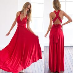 Hot 2016 summer sexy women maxi dress red bandage long dress sexy Multiway Bridesmaids Convertible Dress robe longue femme